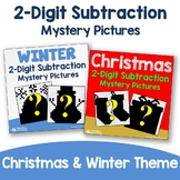 Add & Color Winter, Double Digit Subtraction Christmas Math 2nd Grade Worksheets