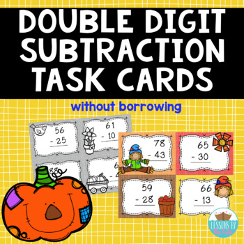 Double Digit Subtraction Fall Task Cards {Without borrowing}