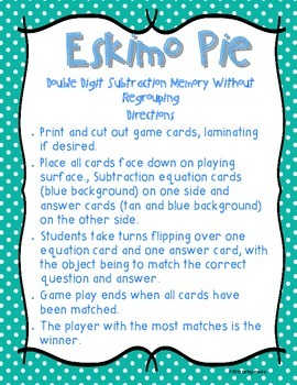 Double Digit Subtraction Game Eskimo Pie Memory
