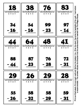 Double Digit Subtraction - Magic House 36 Cards - Self Checking Math Activity