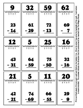 Double Digit Subtraction - Magic House 36 Cards - Self Che