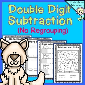 Double Digit (Two Digit) Subtraction - No Regrouping - Worksheets / Printables