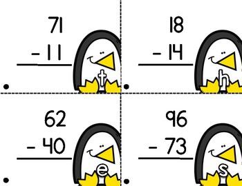 Double Digit Subtraction Penguin Theme Scavenger Hunt