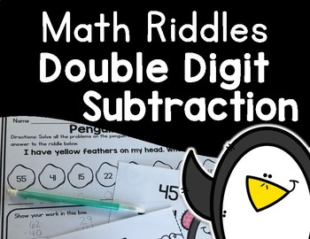 Double Digit Subtraction Penguin Theme Scavenger Hunt