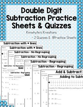 Double Digit Subtraction Practice Sheets & Quizzes (10 pages)
