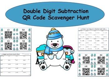 Double Digit Subtraction QR Code Scavenger Hunt