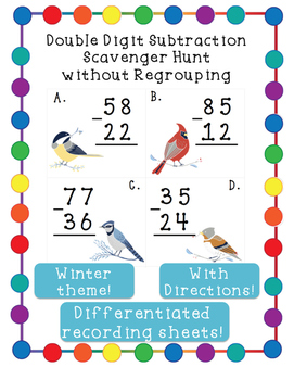 Double Digit Subtraction Scavenger Hunt Without Regrouping