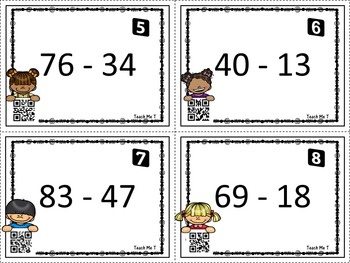 Double Digit Subtraction Scoot! With QR Codes