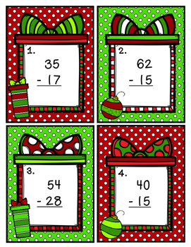 Double Digit Subtraction Scoot with Regrouping Christmas