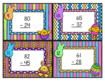 Double Digit Subtraction Scoot with Regrouping Easter