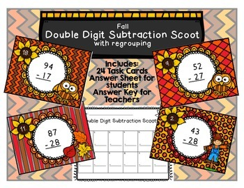 Subtraction Scoot Two-Digit Numbers with Regrouping Fall