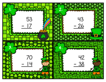 Double Digit Subtraction Scoot with Regrouping St. Patrick's Day