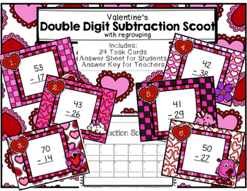 Double Digit Subtraction Scoot with Regrouping Valentine's