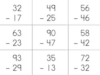 Double Digit Subtraction Sort with Mat