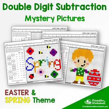 Double Digit Subtraction - Spring, Easter