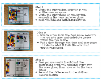 Double Digit Subtraction Story Problems with Place Value Mats
