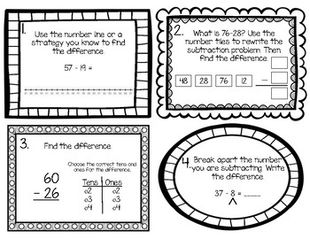 Double-Digit Subtraction Task Cards (2nd Grade GoMath Ch. 5 Test Review)