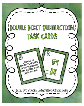 Double Digit Subtraction Task Cards