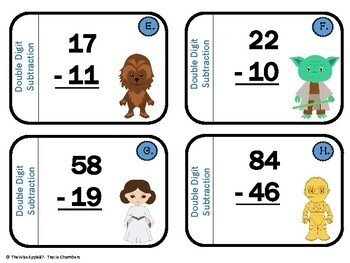 STAR WARS Double-Digit Subtraction Task Cards