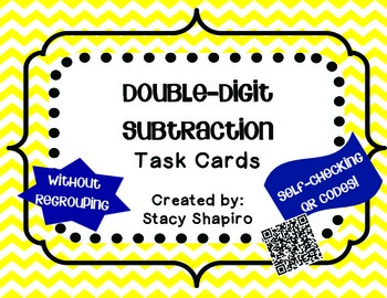 Double-Digit Subtraction Task Cards with QR Codes