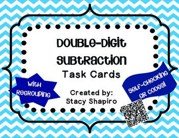 Double-Digit Subtraction Task Cards with Regrouping & QR Codes