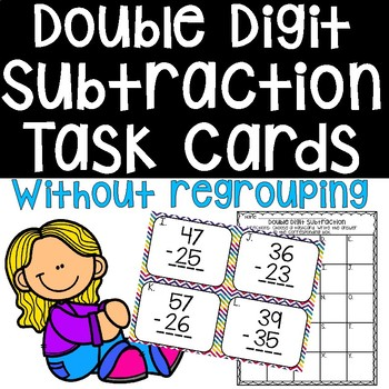 Double Digit Subtraction Task Cards without Regrouping Math Center