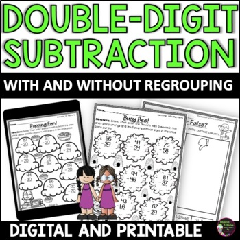 Double-Digit Subtraction WITH and WITHOUT Regrouping Worksheets
