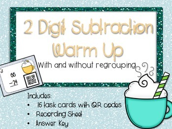 Double Digit Subtraction Warm Up Task Cards (with regrouping)