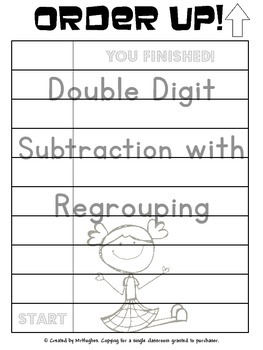 Double Digit Subtraction With Regrouping - Order Up!