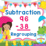 Double Digit Subtraction With Regrouping Smartboard and Po