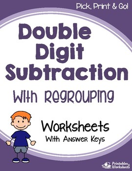 Subtracting Double Digit Subtraction With Regrouping Worksheets With Answer Keys