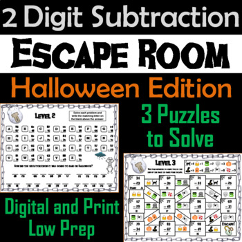 Double Digit Subtraction With and Without Regrouping Game: Halloween Escape Room