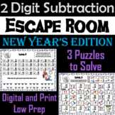 Double Digit Subtraction With and Without Regrouping: New Year's Escape Room