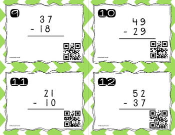 Double Digit Subtraction (With and Without Regrouping) QR Code Task Cards