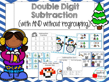 Double Digit Subtraction (With and Without Regrouping) - WINTER theme!