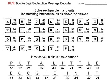 Double Digit Subtraction Without Regrouping Activity: Math Message Decoder