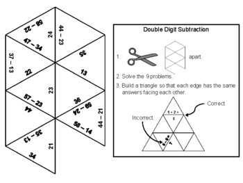 Double Digit Subtraction Without Regrouping Game: Math Tarsia Puzzle