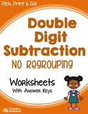 Subtracting Double Digit Subtraction Without Regrouping Worksheets