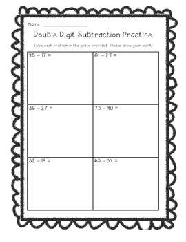 Double Digit Subtraction Worksheets