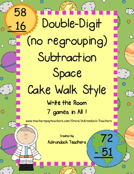 Double Digit Subtraction (no Regrouping) Space Cake Walk Style 7 Games in All!