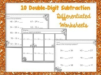 Double Digit Subtraction with Regrouping Differentiated Worksheets