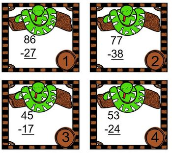 Double Digit Subtraction with Regrouping Rain Forest Tree Boa