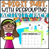 Double Digit Subtraction with Regrouping - Task Cards, Word Problems & Game