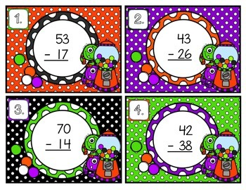 Double-Digit Subtraction with Regrouping Scoot Halloween
