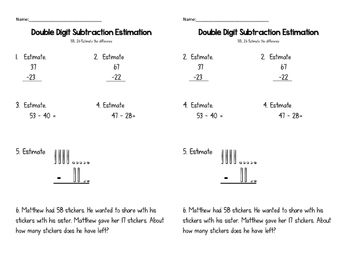 Double Digit Subtraction withOUT Regrouping Exit Ticket