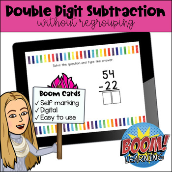 Double Digit Subtraction without regrouping Boom Cards™ Digital Learning