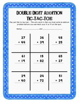 Double Digit Addition Tic-Tac-Toe