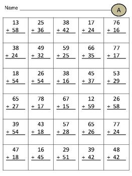 Double Digit Addition WITH Regrouping UPDATED