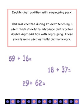 Double Digit addition with regrouping learning pack