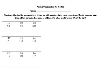 Double Digit add/subtraction Tic Tac Toe